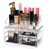 Acrylic Makeup Organizer, Clear Cosmetic Storage Organizer, Makeup Stand Storage Case, Great for Bathroom, Dresser - 2PCS with 3 Drawers and 16 Slots