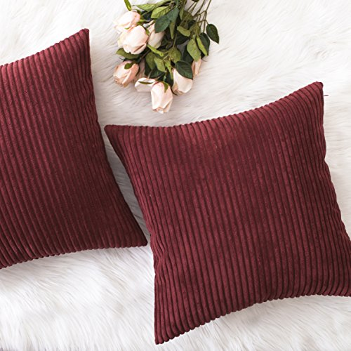 Home Brilliant Decor Soft Plush Corduroy Striped Throw Pillow Cushion Covers for Sofa Couch Bed, Set of 2, 18 x 18 Inch (45x45), Dark Red
