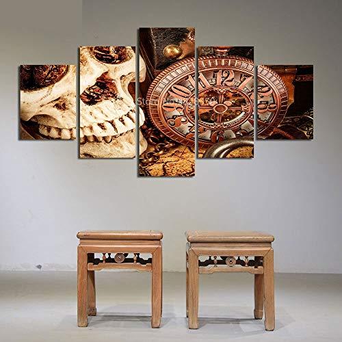 WJDJT Art 5 Stks Canvas Print Voor Schilderijen Artwork Moderne Canvas Muurkunst Voor Huis En Kantoor Decor,Schedel Klok Decoratie Schilderij 200X100Cm