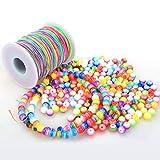 ZesNice 300 Stück Bunte Perlen Zum Auffädeln mit 100 m Elastisch Schnur, Rund Perlen mit Nylon Regenbogen Perlenschnur für Armbänder Schmuck Basteln, Geschenk Kinder Mädchen