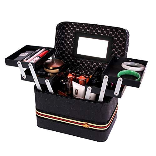 Beauty Makeup Nail Art Cosmetics Box Vanity Case Jewellery Storage Holder,Black