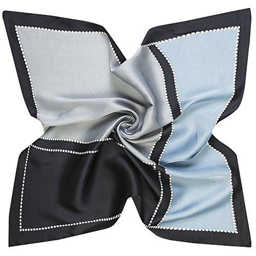 Beyond Damen Seidenschal Seidentuch Schal Tuch aus Seide Quadratisch 60 x 60 cm (Grau Schwarz)