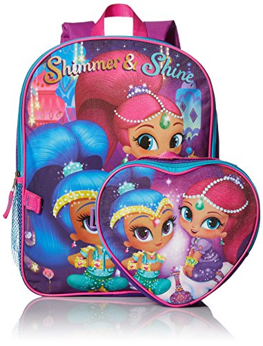 Nickelodeon Girls' Shimmer and Shine Backpack with Lunch Kit, Purple, 16 Inch