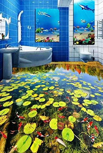 3D-PVC-Boden Benutzerdefinierte Wand Wticker 3D-Badezimmerboden 3D-Teich Entengrütze Karpfenmalerei Fototapete Wand 3D-200Cmx140Cm