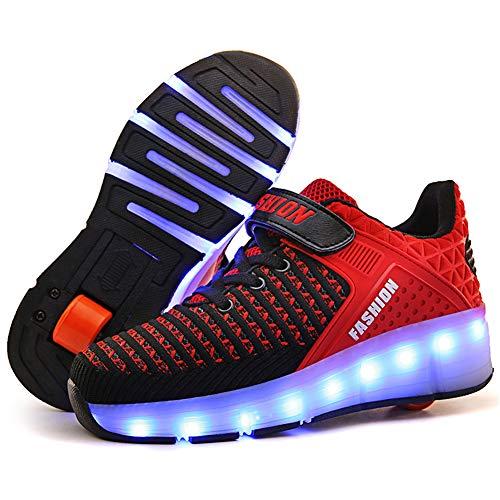 Unisex Bambini e Ragazze Scarpe da LED Luce USB Ricaricabile Singolo Doppia Ruota Skateboard Sportive con Rotelle Automatiche Ruota Diritta Formatori Outdoor Multisport Ginnastica Running Sneaker