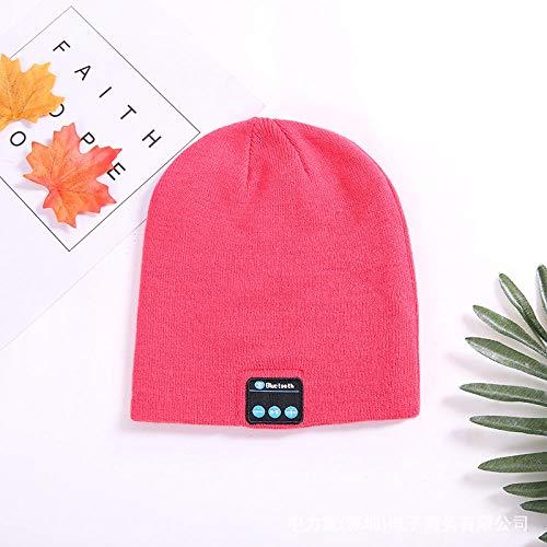 Ysakura Outdoor Bluetooth Beanie Hat Cap,Bluetooth Musik Strickmütze, Winter warme und kalte Kopfhörermütze-Pink,Unisex Strickmütze aus für Damen & Herren