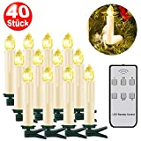 SZILBZ 40Stk Weihnachten LED Kerzen Lichterkette Weihnachtsbaumkerzen...