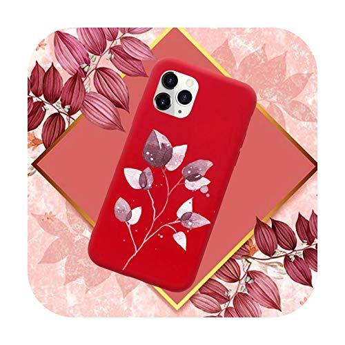 Funda para teléfono móvil con diseño de hojas, color rojo caramelo para iPhone 11 12 Mini Pro XS MAX 8 7 6 6S Plus X SE 2020 XR-a4-6Plus 6SPlus