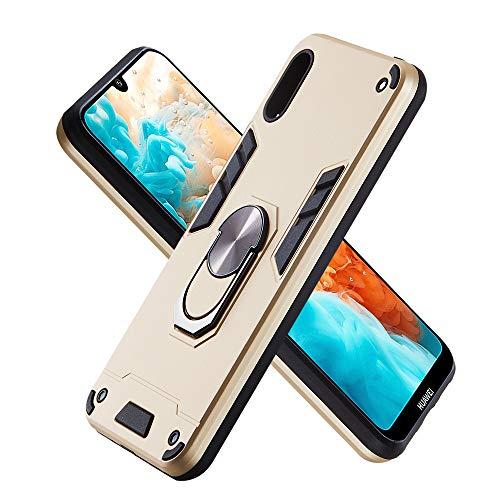 Hülle für Huawei Y6 Pro (2019) mit Standfunktion, PC + TPU Rüstung Defender Ganzkörperschutz Hard Bumper Silikon Handyhülle stossfest Schutzhülle Case (Golden)