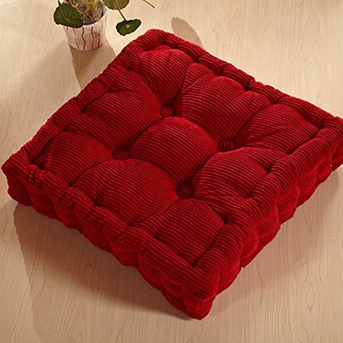 JYX Quadratische Tatami Stuhl-Pads,verdicken Sie Boden-Kissen Gemütlich Sitzkissen Futon Sofakissen Für Indoor Outdoor Office Stuhl-rot 43x43cm(17x17inch)