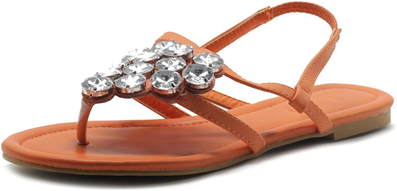 Ollio Women's shoes T Strap Thong Rhinestone Flat Sandals M1614