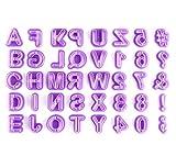 Stampini Per Fondente,40 Pack Plastica Stampi ad Espulsione per Biscotti Viola Stampini con Lettere e Numeri per Decorare