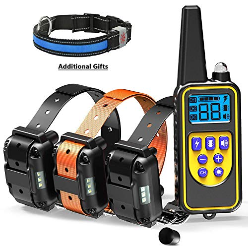Elektrische halsband voor hondentraining met 4 schokmodi, trillingen, piep en licht Waterdichte en oplaadbare halsband voor hondenschors met afstandsbediening van 800 m voor 3 honden