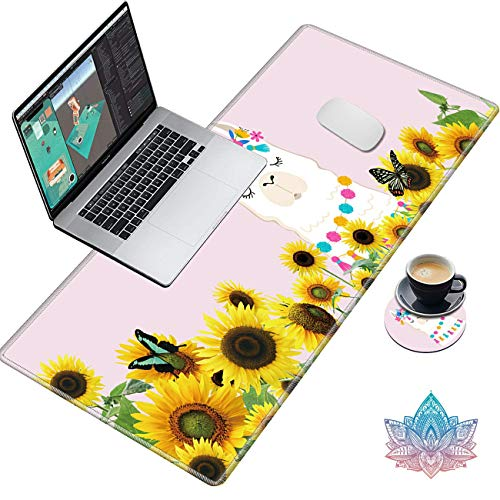 Desk Pad, Gaming Large Mouse Pad XXL XL Extended Keyboard Mat with Stitched Edges Non Slip Base Computer Mat for Work & Gaming, Office & Home, with Cute Coasters Stickers, Sunflower Llama