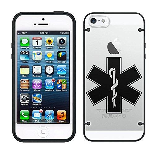 iPhone 5C silueta estrella de vida en claro con negro Trim Funda