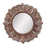 Stonebriar - Espejo Decorativo Redondo de cerámica quemada, Elegante decoración del hogar para salón, Cocina, Dormitorio o Pasillo, Color Gris Pardo
