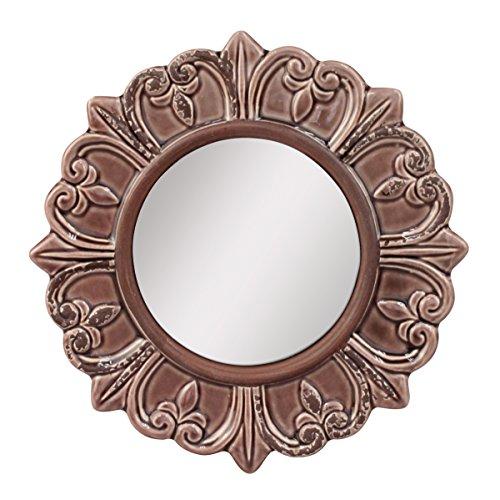 Stonebriar Decorative Round Burnt Umber Ceramic Wall Mirror Elegant Home Décor for Living Room, Kitchen, Bedroom, or Hallway, Worn Taupe