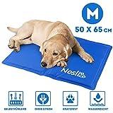 Nosli Kühlmatte für Hunde und Katzen - Idealer Schutz bei Hitze für Haustiere - Kältematte Selbstkühlend in verschiedenen Größen/Sea Blue M