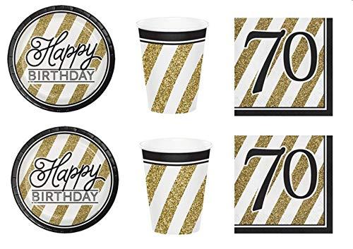 Party Store web by casa dolce casa Festa Compleanno 70 Anni Black & Gold Coordinato ADDOBBI TAVOLA Festa,Compleanno 70 Anni,Evento Nero E Oro Kit n°1 CDC-(8 Piatti,8 Bicchieri,16 TOVAGLIOLI)