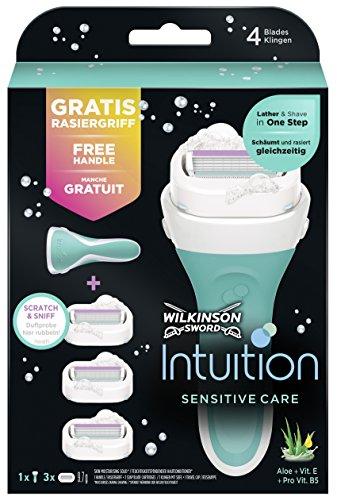 Wilkinson Sword Intuition Sensitive Care Vorteilspack Damen Rasierer mit 3 Ersatzklingen
