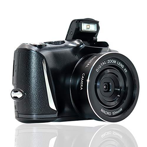LongOu Digitalkamera Full HD 2,7K / 20FPS fotoapparat digitalkamera 48,0-Megapixel-Kamera mit 4-fachem Digitalzoom Kompaktkamera (Schwarz)