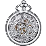 ManChDa Mens Antique Mechanical Pocket Watch Lucky Dragon & Phoenix Retro Skeleton Dial with Chain (4.Sliver Blue)