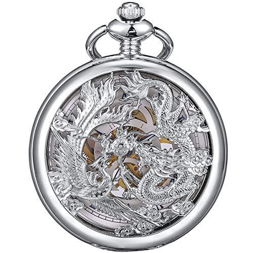 ManChDa Antiguo Negro Hunter Números Romanos Dragon y Phoenix/Reno Patrón Hueco Mecánico Reloj de Bolsillo + Caja de Regalo (4.Silver with Blue)