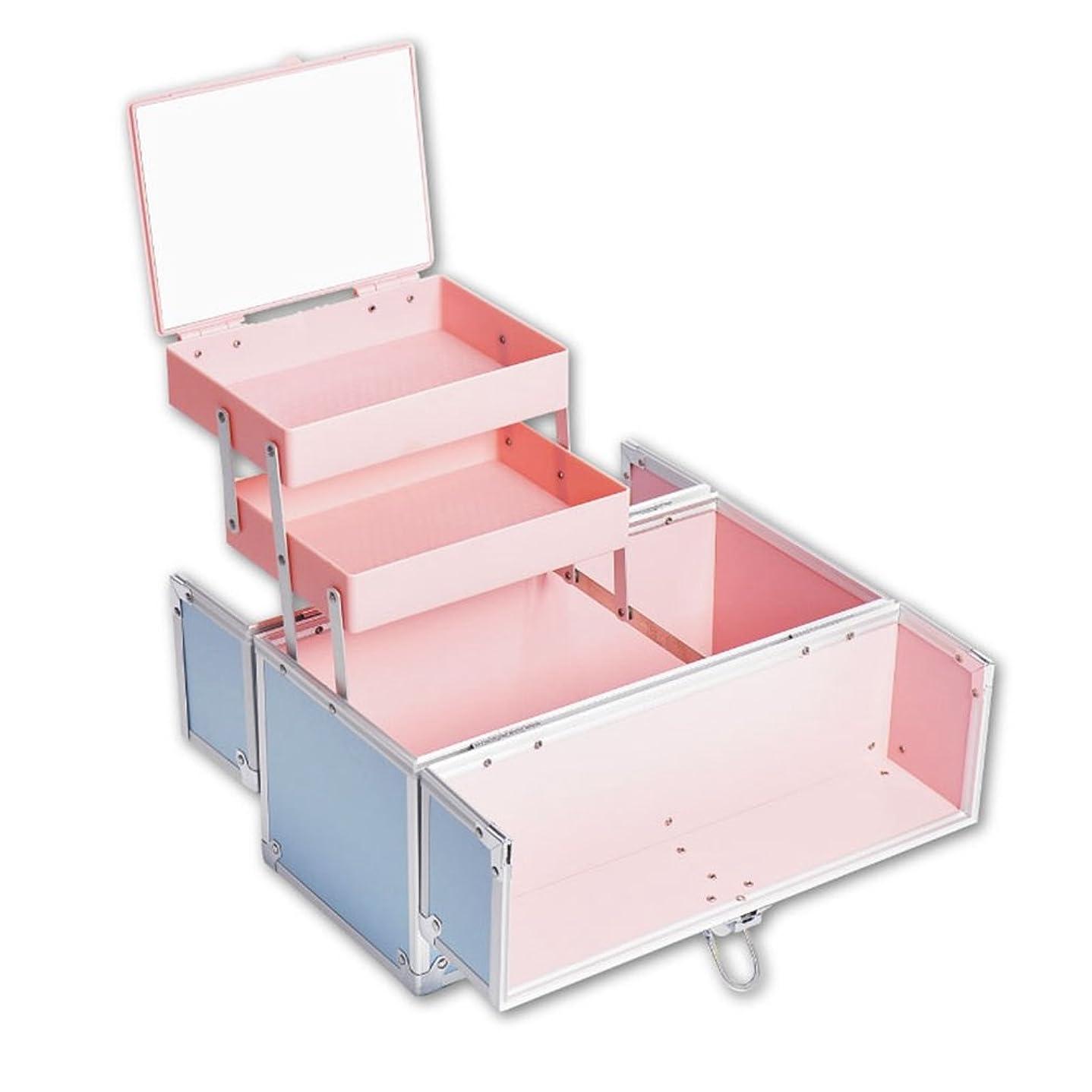 現れる調停者アラブ人「XINXIKEJI」メイクボックス コスメボックス 大容量 2段 鏡付き 洗える 化粧ボックス スプロも納得 収納力抜群 鍵付き かわいい 祝日プレゼント  取っ手付 コスメBOX ブルー