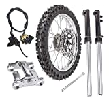 ZXTDR 2.50-14 Front Wheel Tire Rim with 12mm Bearing & Fork Shocker & Triple Clamp Handlebar Riser & Brake Disc & Hydraulic Master Cylinder and Rim Axle Set for Dirt Pit Bike