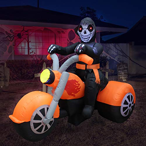 BZB Goods 6 Foot Long Halloween Inflatable Skeleton Ghost Riding on Motorcycle Bike Lights Lighted Blowup Party Decoration for Outdoor Indoor Home Garden LED Prop Yard Blow Up Lawn Decorations