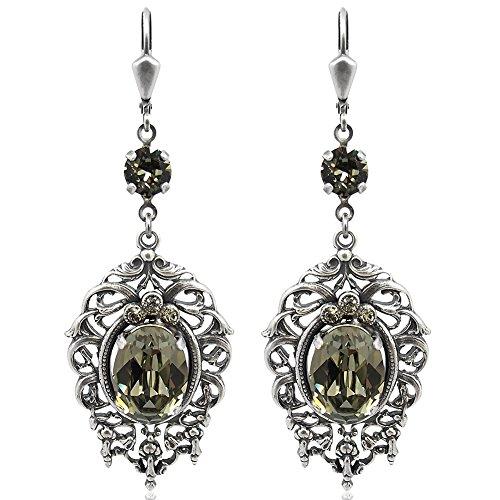 Jugendstil Ohrringe mit Kristallen von Swarovski Grau Silber Black NOBEL SCHMUCK