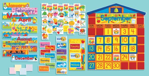 Scholastic All-in-One Schoolhouse Calendar Bulletin Board SC939405, Multiple Colors