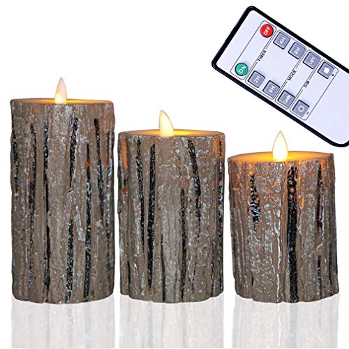 Flameless LED Candles Set of 3 Flickering Light Cedar-Bark Real Pillar Wax with Timer and 10-Key Remote for Wedding, Yoga, Votive, and Decoration