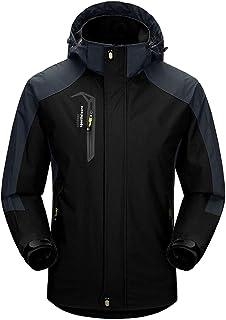 Naudamp Men's Outdoor Waterproof Jacket Lightweight Softshell Rain Coat Climbing Hiking Clothes Mountain Multi-Pockets Win...
