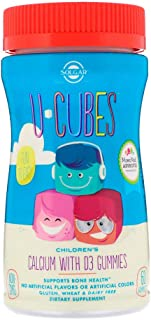 Solgar U-Cubes Childrens Calcium With D3 Pink Lemonade Blueberry Strawberry Flavors - 60 Gummies