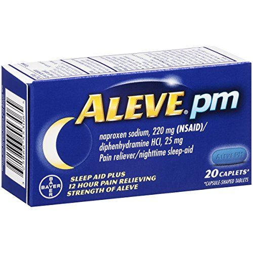 Aleve PM Caplets with Naproxen Sodium, 220mg (NSAID) Pain Reliever/Fever Reducer/Sleep Aid, 20 Count