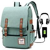 Vintage Laptop Backpack for Women, 15.6inch USB College School Bookbag - Green