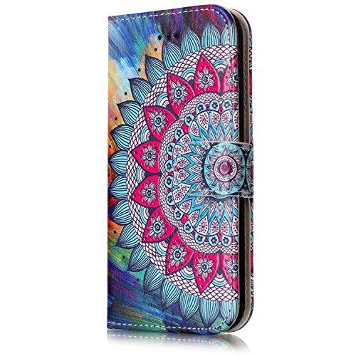 ISAKEN Compatibile con iPhone 7 Cover - Libro Wallet Flip Portafoglio Custodia in PU Pelle Sollievo Pattern Anti Slip Caso con Supporto di Stand/Carte Slot/Chiusura - Tribal Fiori