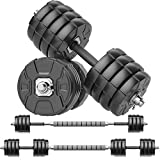 RUNWE Adjustable Dumbbells Barbell Set of 2, Free Weight Set with Steel Connector at Home/Office/Gym Fitness Workout Exercises Training for Men/Women/Beginner/Pro (88 lbs-2 Dumbbells in Total)