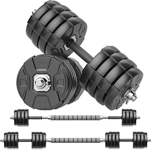 RUNWE Adjustable Dumbbells Barbell Set of 2, Free Weight Set with Steel Connector at Home/Office/Gym Fitness Workout Exercises Training for...