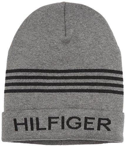 Tommy Jeans Herren HILFIGER BEANIE   Mütze Grau (039-Light Grey Heather 016) One size (Herstellergröße: OS)