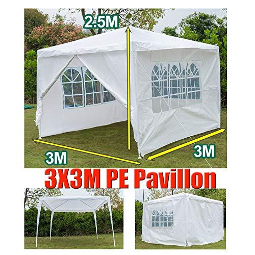 Huini 3x3m Pavillon (mit 4 Seitenwände) für Gartenparty Hochzeit BBQ Event Wasserdicht UV-Schutz Zelt Festzelt Markise Einfache Installation Weiß