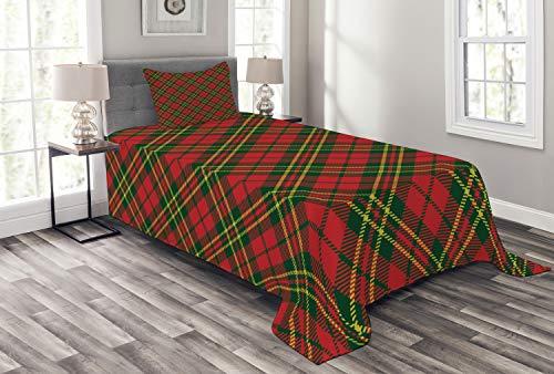 ABAKUHAUS Kariert Tagesdecke Set, Irish Tartan Weihnachten, Set mit Kissenbezügen Waschbar, für Einselbetten 170 x 220 cm, Smaragdgrün Gelb
