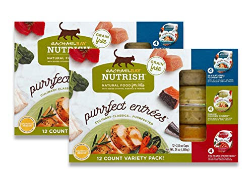 Rachael Ray Nutrish Purrfect Entrees Natural Wet Cat Food, Variety Pack, 2 Ounce Cup (Pack of 24), Grain Free