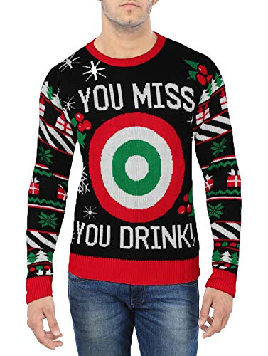 Men Ugly Christmas Funny Sweater - Mens Holiday Christmas Drinking Game Sweater Black (M)