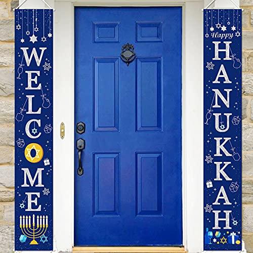 CiyvoLyeen Hanukkah Decorations Banner Hanukkah Porch Sign Welcome Happy Hanukkah Banner Chanukah Hanging Garland for Hanukkah Party Supplies
