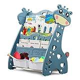 Libreria Scaffale per Bambini ,cartone Scaffale per Giocattoli ,Scaffale Porta Libri Libreria scaffale per riviste, Libreria di Tessuto per Bambini 4 Scomparti,76 x 38 x 85 cm(Azzurro)