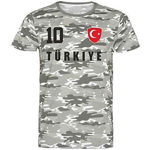Nation Türkiye Türkei T-Shirt Camouflage Trikot Style Nummer 10 Army (XXL)