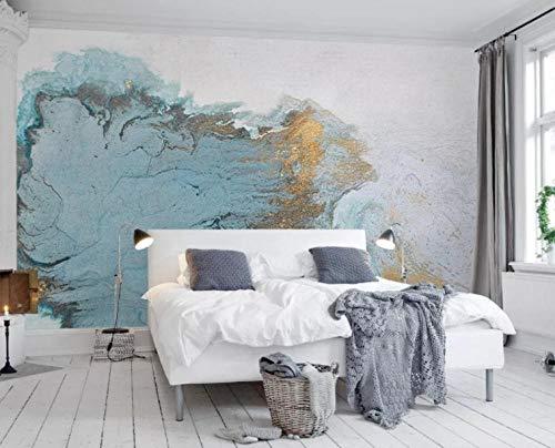 Fotobehang Moderne stijlvolle blauwe textuur De lichte luxe slaapkamerwand bronskleurig vlies muur behang woonkamer slaapkamer wanddecoratie 140CMx100CM