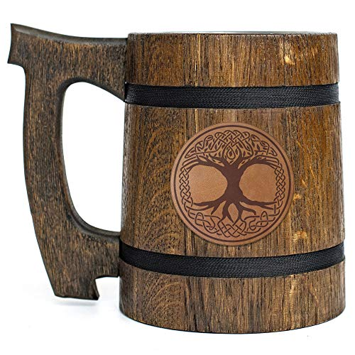 Crann Bethadh Beer Mug, Celtic Beer Stein, Personalized Wooden Beer Mug, Custom Celtic Tree Of Life Leather Beer Stein, Gamer Gift, Gamer Tankard, Gift for Men, Gift for Him